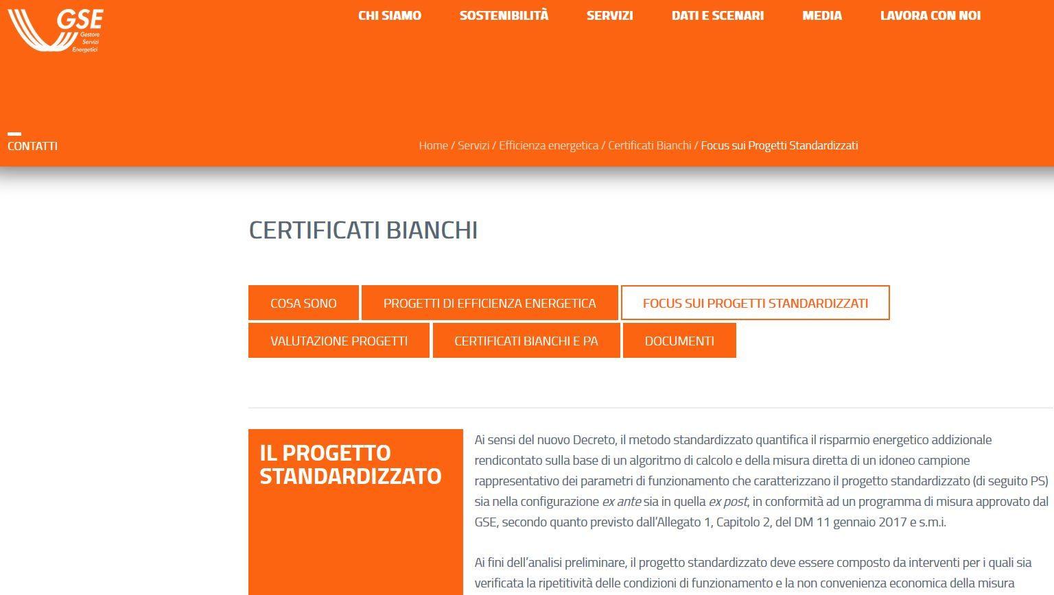 Certificati Bianchi per i progetti standardizzati